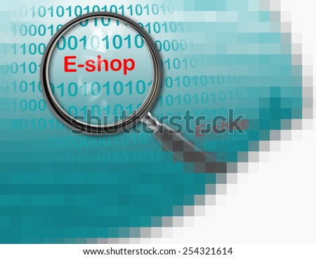 Close up of magnifying glass on E-shop  made in 2d software