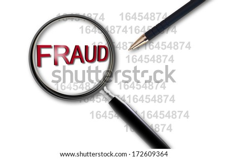 Close up of magnifying glass on fraud made in 3d software - stock photo