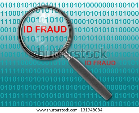 Close up of magnifying glass on id fraud - stock photo