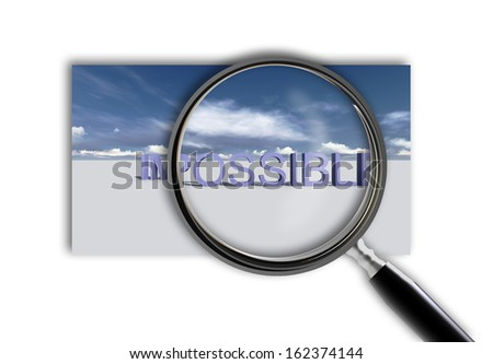 Close up of magnifying glass on impossible made in 3d software - stock photo