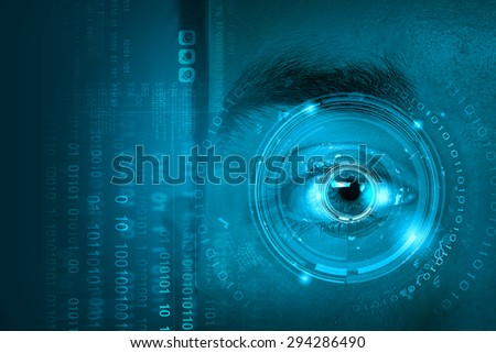 Close up of male digital eye with security scanning concept - stock photo