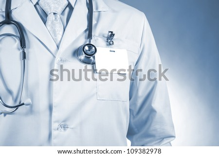 Close up of male doctor - stock photo