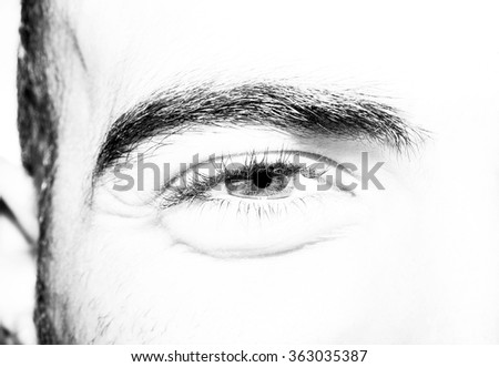 Close up of male eye and face smiling