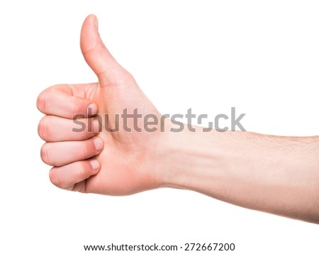 Close-up of male hand is showing thumbs up sign over white background.