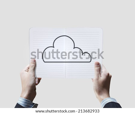 Close up of male hands holding opened notepad