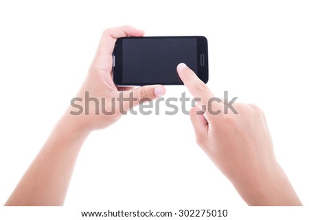 close up of male hands using smart phone with blank screen isolated on white background - stock photo