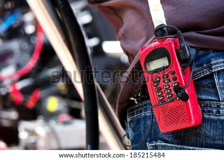 Close-up of male with Walkie talkie  - stock photo