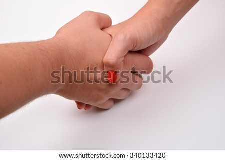 Close up of man and woman shaking hands, isolated on white background. Concept of a deal - stock photo