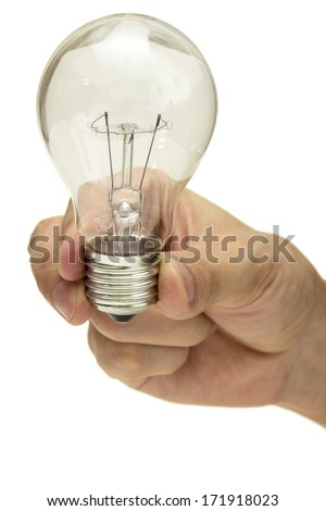 Close up of man hand holding light bulb isolated over white background
