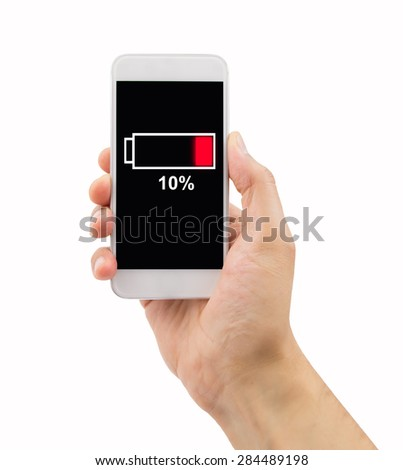 close up of man hand holding the phone with low battery on a screen