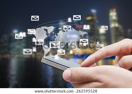 close-up of man hand with smart phone show social network,network and communication concept