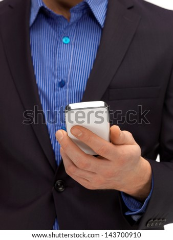 close up of man hand with smartphone - stock photo