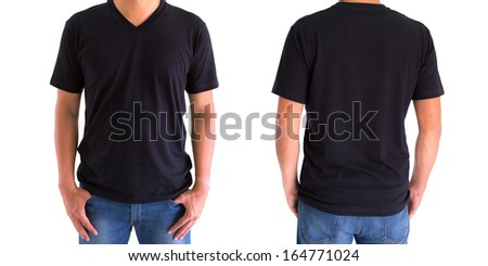 close up of man in blank V-neck short sleeve black t-shirt - stock photo