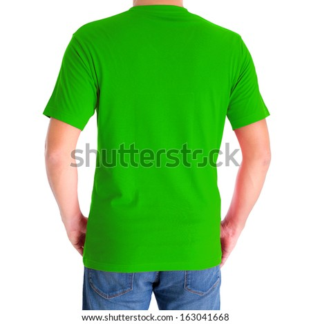 close up of man in blank V-neck short sleeve green t-shirt - stock photo