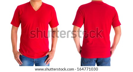 close up of man in blank V-neck short sleeve red  t-shirt - stock photo