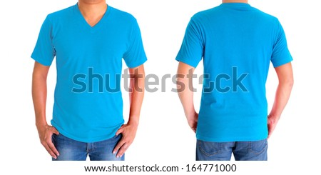 close up of man in blank V-neck short sleeve sky-blue t-shirt - stock photo
