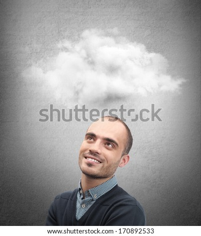 Close up of man looking up for thought bubble above his head with copy space