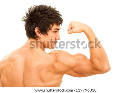 Close up of man's arm showing biceps. Isolated on white. - stock photo
