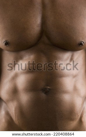 Close up of man's bare torso