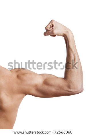 Close up of man's muscular arm