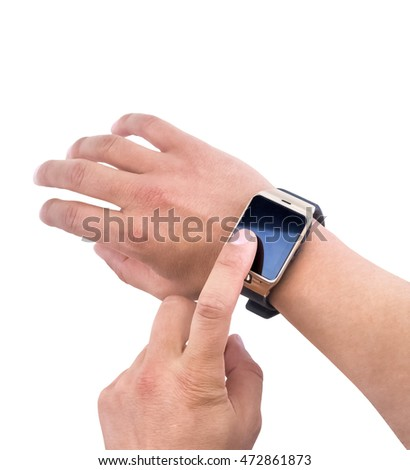 close-up of man using smartwatch app with finger on white background, new technology concept