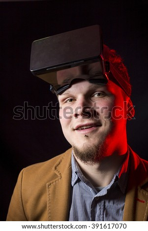 Close-up of man using vr glasses