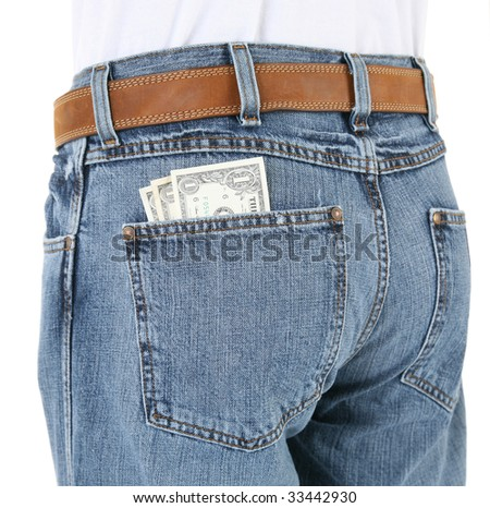 Close Up of Man Wearing Jeans with Money in Back Pocket - stock photo