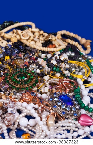 Close up of many differently jewellery background