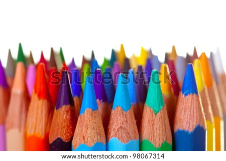 Close up of many pencils over white background - stock photo