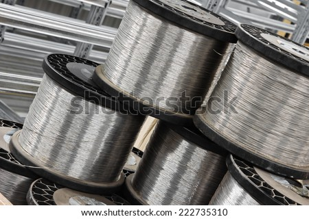close up of many steel wire coil - stock photo