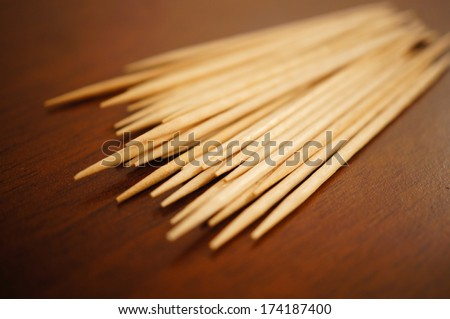 Close-up of many wooden toothpicks