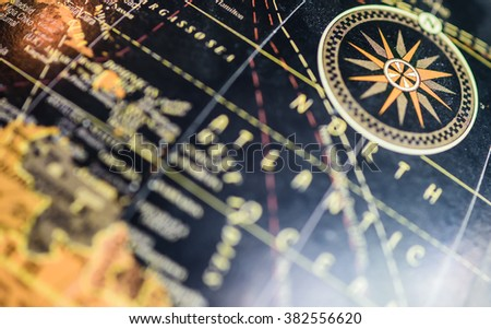 Close up of map on globe. Elements of this image furnished by NASA - stock photo
