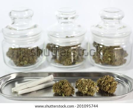 close up of marijuana buds  - stock photo
