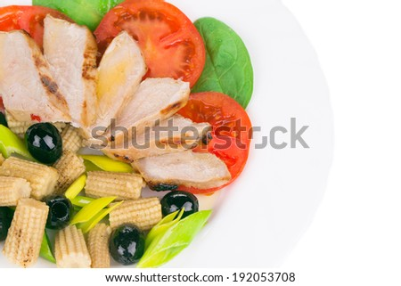 Close up of meat salad with vegetables. Whole background.