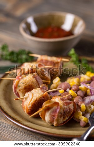 Close up of meatballs rolled in bacon