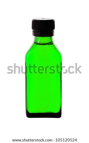 Close up of medicine bottle with green syrup isolated on white background - stock photo