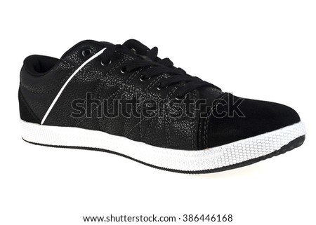 Close up of men sport shoes on white background - stock photo