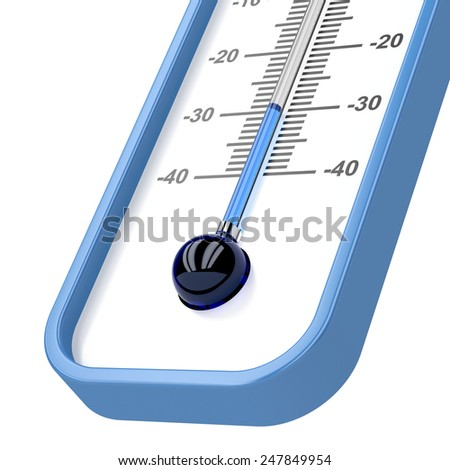 Close-up of mercury thermometer showing -30 degrees - stock photo