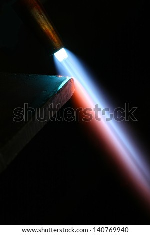 close up of metal cutting torch - stock photo