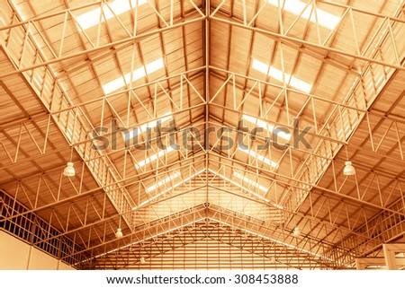 Close up of metal roof structure in vintage style color - stock photo