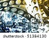 Close-up of metal scrap from stamping production line. - stock photo
