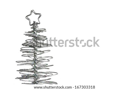 close-up of metallic modern christmas tree on white background with space for text