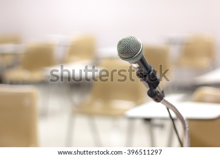 Close up of  microphone at lecture room