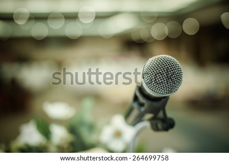 close up of microphone on an event - stock photo