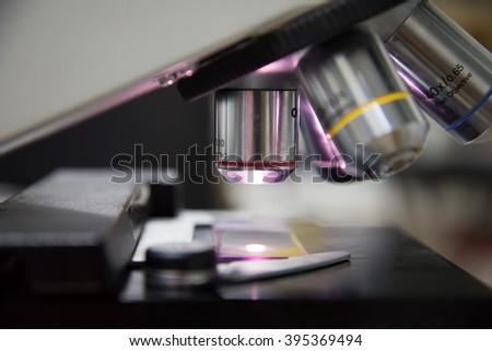 Close up of microscope  - stock photo