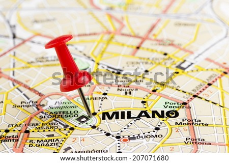 Close up of Milano map with red pin - stock photo