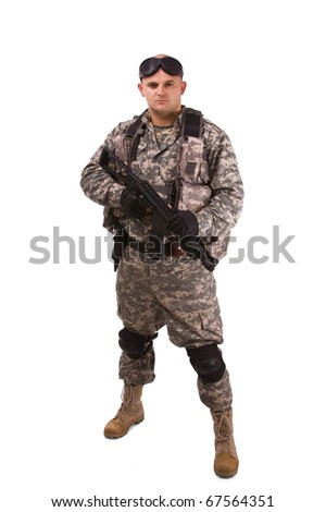 close up of military soldier about to shoot - stock photo