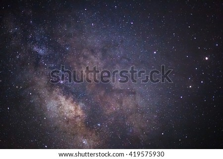 Close-up of Milky Way Galaxy,Long exposure photograph, with grain  - stock photo