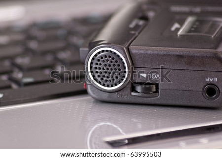 Close Up of Mini Tape Recorder Microphone - stock photo
