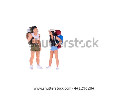 Close up of Miniature backpacker and tourist people isolate on white background. Elegant Design with copy space for placement your text, mock up for travel concept - stock photo